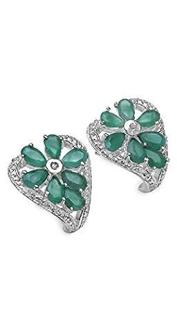 Silvancé - Women's Earrings - 925 Sterling Silver - Genuine Emerald - E1650E