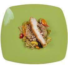 Juego de 10 platos de cena de plástico duro de alta resistencia, 25 cm,