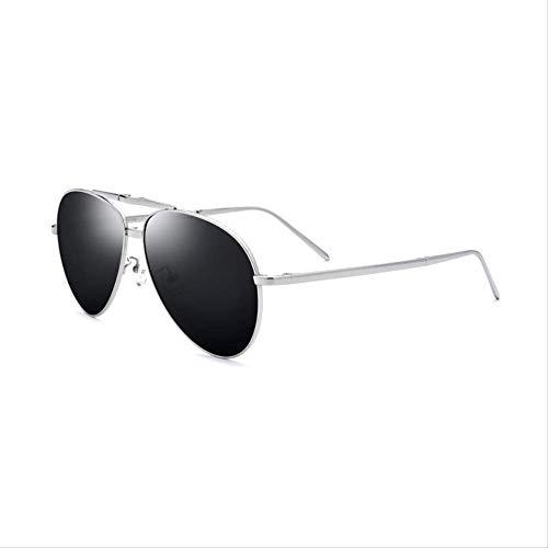 LKVNHP Neue Hochwertige Titan Männer Polarisierten Sonnenbrillen Uv400 Silber Übergroße Pilotenbrille Für Männer Vintage Klappbrille Größe: 60-16-140Mm