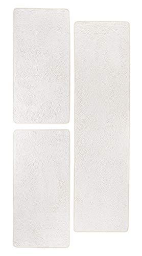 misento 292161 Bettumrandung Shaggy Langflor Uni Farben weicher Flor Teppichläufer Brücke 1 x 67 x 250 cm, 2 x 67 x 140 cm, crème / weiß