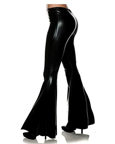 Horror-Shop Schwarze Metallic Schlaghose als Disco Kostüm - Disco Queen Sexy Kostüm