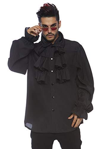 Kostüm Avenue Piraten Herren Leg - LEG AVENUE 86688 - Ruffle front shirt Männer Kostüm, Schwarz, X-Large (EUR 42)