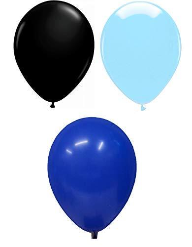 INERRA Globos - Grande 12' 30cm - Pack of 75 Mezclado (25 X Negro, 25 X Azul Celeste & 25 X Azul Turquí) para Globos de Helio o Aire