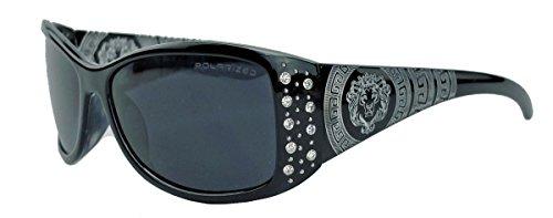 GIANNI MILANO polarisierte Damen Sonnenbrille Strass Glitzersteine Designer Look KP34 (Schwarz)