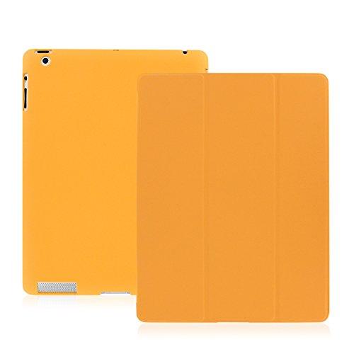 Khomo iPad 2, iPad 3, iPad 4 Retina Hülle Case Orangenes Gehäuse mit doppelten Schutz ultra dünn und leicht, Smart Cover  - Dual Orange