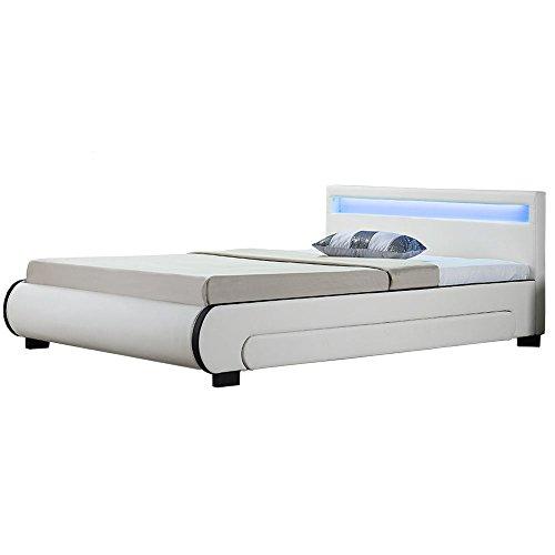 Juskys ArtLife Polsterbett Bilbao mit Lattenrost, Bettkästen & LED Beleuchtung im Kopfteil | 180 x 200 cm | weiß | Bett Doppelbett Jugendbett Bettgestell