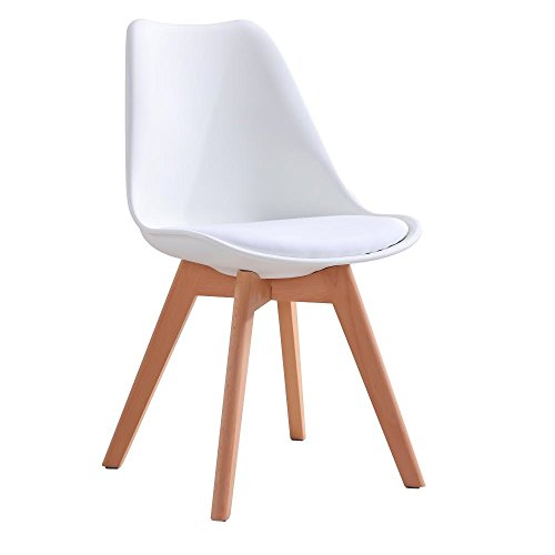 CrazyGadget Tulip Dining Chair Natural Solid Wood Legs with Cushioned Pad Contemporary Designer for Office Lounge Dining Kitchen - White (1)