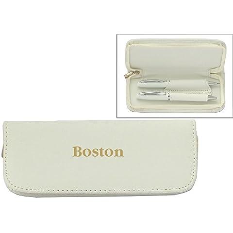 Set de pluma en estuche de cuero artificial de color blanco con nombre grabado: Boston (nombre de pila/apellido/apodo)