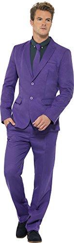 Smiffy's - Costume per travestimento, incl. completo giacca/pantaloni e cravatta, Uomo, colore: Viola, L