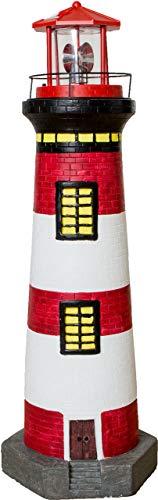 Solar-Leuchtturm mit rotierender Leuchte, Dekoturm aus Polyresin, 37 oder 82 cm hoch, Leuchtturm in den Farben rot, blau oder schwarz