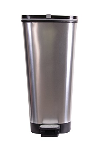 Ondis24 Treteimer Chic L Mülleimer Abfalleimer aus Kunststoff 45 Liter (Metal Silver) (60 Kuchen-deckel Gold)