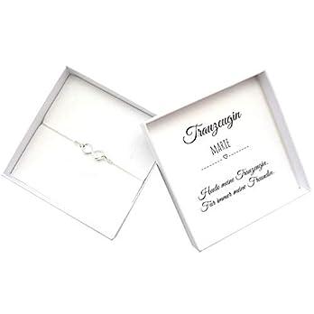 Trauzeugin Geschenk, Armband Infinity Silber Herz personalisierte Box