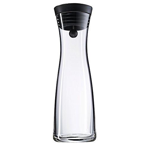 WMF Basic Wasserkaraffe, 1,0l, Höhe 29cm, CloseUp-Verschluss, schwarz, Glas Cromargan Edelstahl...
