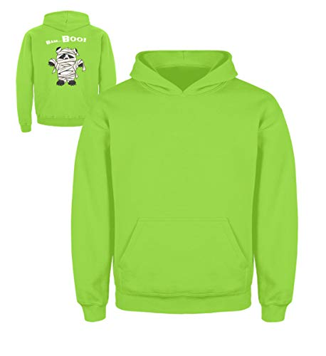 Shirtee Bam-Boo! Cool süßes Halloween Panda Wortspiel - Grusel Geschenk für Panda Fans - Kinder Hoodie -5/6 (110/116)-Limetten Grün