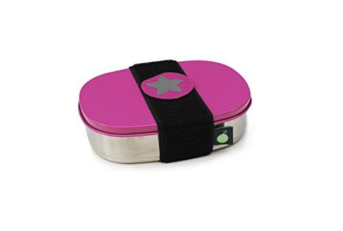 do dotty BOX schadstofffreie Edelstahl Brotdose pink (16,5x12x4) mit Trennsteg und Klettmotiv zum individualisieren für Kindergarten und Schule (Kleine Aufbewahrungsbox Kids)