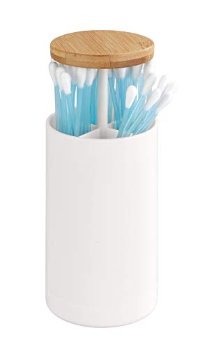 WENKO Wattestäbchenhalter Laresa - Ohrstäbchen-Spender, 6, 5 x 11, 5 x 6, 5 cm, weiß