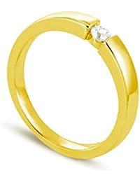 Tous mes bijoux Damen Ring Solitaire BADM02124, Gelbgold 375/1000, 3,1 g Diamant 0,1 Karat