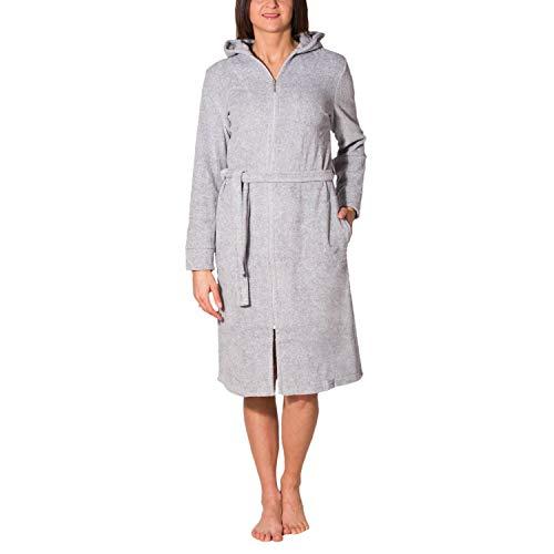Aquarti Damen Bademantel mit Reißverschluss Lang, Farbe: Melange/Grau, Größe: 3XL