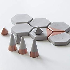 Atelier Ideco – Set Von 12 Rotgold Schmuck Zeigt, Kegeln Und Mini Diamanten Stützen Betonringe