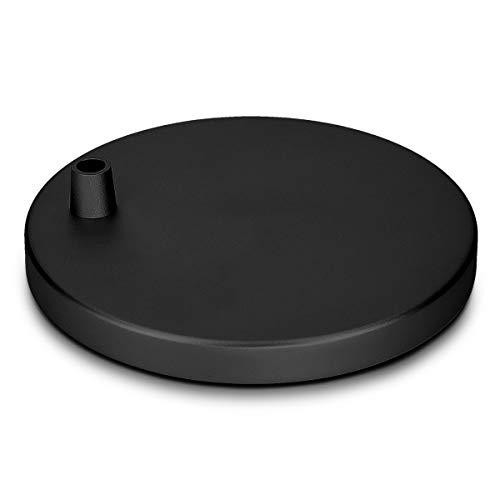 Navaris soporte de lámpara plano para mesa - Base antideslizante circular compatible con lámparas de Navaris - Pie de flexo de aluminio negro