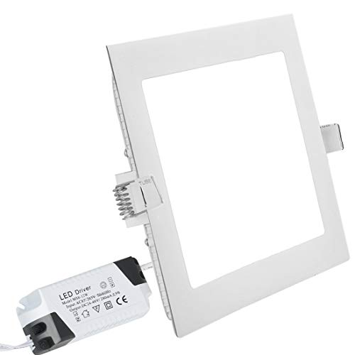 Placa LED Iluminación Empotrable Super Slim Downlight Cuadrada Plafón Led 24W 6000K...