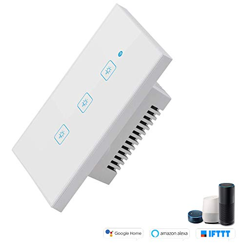 Smart Wi-Fi Touch US 3 pannello, Smart Timing Switch, telecomando con Smart Phone, compatibile con iOS e Android, con Alexa Echo e Google Assistant (WS-US-3gang, WHITE)