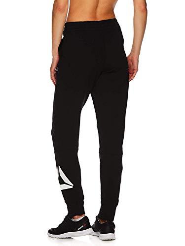 Reebok Women's Slim Fit Jogger Pants - Mid Rise Waist Athleisure Sweatpants for Women - Black Metro 2.0, Large