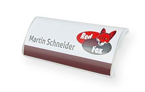 50 Stück Profil-Namensschild aus Acryl gewölbt mit starkem Magnet Größe: 75x27 mm Befestigung Name Badge Namensschilder für Kleidung, selbstbeschriftbar