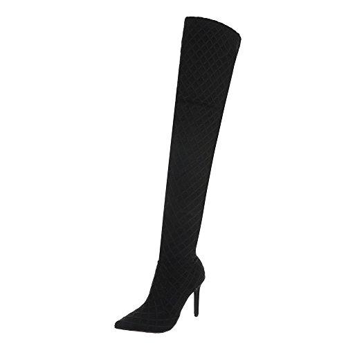 Flache Heel Stiefel (Ital-Design Overknees Damen-Schuhe Overknees Pfennig-/Stilettoabsatz High Heels Reißverschluss Stiefel Schwarz, Gr 39, Jr-017-)