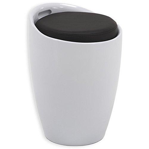 Sitzhocker Arbeitshocker Badhocker Badschemel Stauraumhocker DANIEL, mit Stauraum und Sitzkissen in weiß/schwarz
