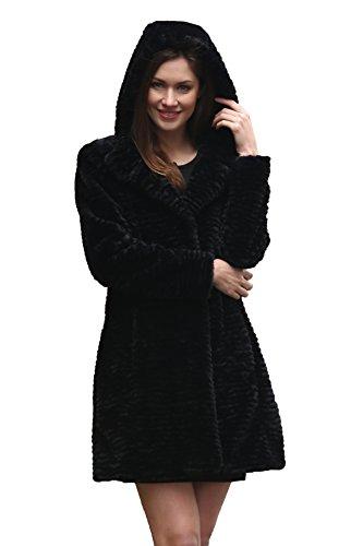 Adelaqueen Damen Wintermantel im luxuriösen persischen Lammfell Fantastischer Kunstfell Mantel In Schwarz Mit Kapuze (Größe: (Lebens Sinn Des Kostüm)
