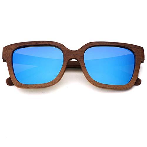 PZXY Holz Sonnenbrillen Schwarzer Walnuss-Holzrahmen Personality Outdoor Polarized UV-Schutzbrillen für Männer und Fraue