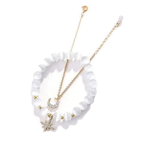 JIAXUN Armband Naturstein Opal Star Moon Anhänger EIN dreitägiges Geschenk zum Valentinstag, Damengeschenk, Herrengeschenk -