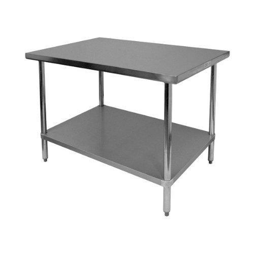 GSW Arbeitstisch mit Flacher Tischplatte aus Edelstahl, 1 verzinktes Untergestell & verstellbare Standfüße, 76,2 x 30,5 x 88,9 cm