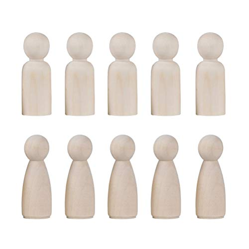 Toyvian 20Pcs Unfinished Wooden Peg Dolls Decorative Wooden Peg Doll Bodies Wedding Cake Toppers Bride and Groom Figures for DIY Craft Wedding Decorations (35mm Boy + 35mm Girl, 10 Pcs Each)