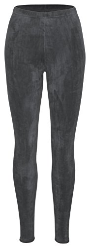 Piarini Winter-Leggings mit Teddy-Innenfleece - Thermo-Leggings extra kuschelig warm in Anthrazit Gr.S-M