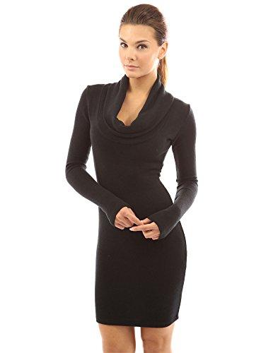 PattyBoutik Damen Langärmliches gestricktes Kleid mit Schalrollkragen (braun 46/XL)