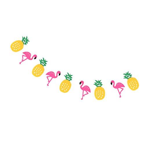 Prettyia Filz Wimpelkette Flagge Girlande, Wimpel Girlande für Weihnachten Hochzeit Geburtstag Haus Dekoration - Flamingo Ananas, 3.5m