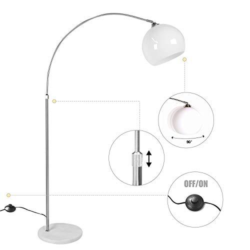 CCLIFE Lampe Lampadaire à arc salon courbée - Lampe arceau moderne en chrome - Lampadaire sur pied marbre- Couleurs au choix: Blanc/Orange, Couleur:Blanc, réglable en hauteur 130-180cm