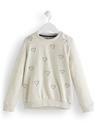 RED WAGON Mädchen Heart Embroidered Sweatshirt, Elfenbein (Oatmeal), 122 (Herstellergröße: 7)