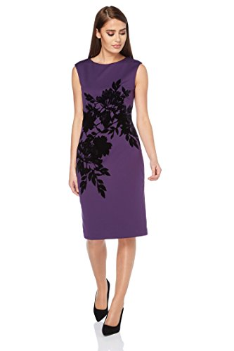 Roman Originals Damen-Scuba-Kleid mit Blumendruck Lila - Purpur - Größe 46