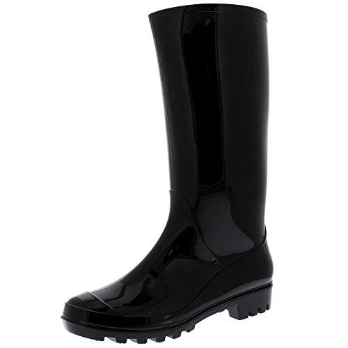 Damen Original Groß Dreck Winter Schnee Wasserdicht Regen Gummistiefel Stiefel - Schwarz Glanz - UK3/EU36 - BL0283