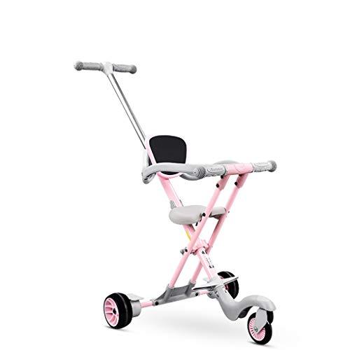 Carritos y sillas de Paseo Cochecito de bebé Ligero Carrito de bebé Portátil con Sistema de Frenos y Seguridad para niños de 1 a 6 años Bebé Sillas de Paseo (Color : Pink)