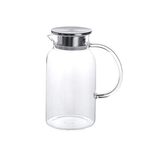 Glaswasserkrug - Eiskalte Saftkaraffe mit Edelstahldeckel und Aufguss - Borosilikatglaskanne für Rotwein, Wein, Saft, Milch, eiskaltes Wasser, heißen Kaffee usw