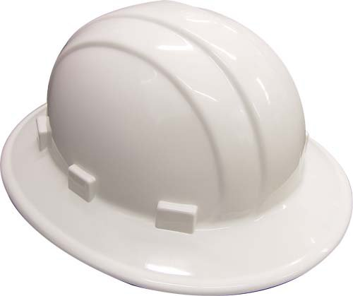 Erb 19911 Casque de chantier Large rebord Réglable Blanc