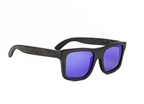 Gravierte Holz Sonnenbrille aus Ebenholz im MAORI DESIGN - Wicked Ares inklusive faltbarem Flip Case Etui - mit blau polarisierten Gläsern - für Damen und Herren
