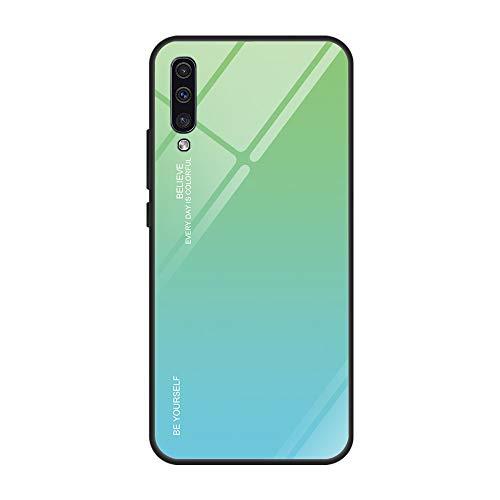 Kompatibel mit Samsung Galaxy A50 Hülle,9H Gehärtetes Glas Back Cover Dünn Spiegel Schutzhülle Mirror Case Silikon Bumper Frame Farbverlauf Kratzfest Stoßfest Schutz Handyhülle für Galaxy A50 (A50, 6) -