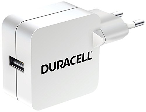 Duracell Mobile Charger (Duracell 2.4A USB-Ladegerät Netzladegerät kompatibel mit Smartphones, MP3-Playern, Tablets uvm. 2-Pin Netzstecker - Weiß)
