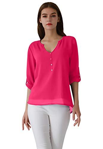 Rose Damen Henley (OMZIN Damen Tops Langarm Blusen Chiffon Henley Shirt V Ausschnitt Oberteile Fuchsia XL)