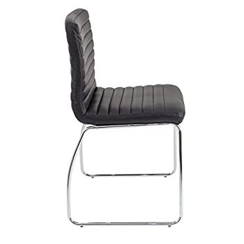 Office Hippo 50 x 46 x 85 cm Stackable Meeting, Kitchen, Dining Chair with Chrome Frame, Faux Leather, Black